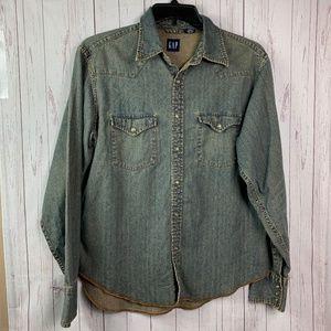 Gap jean button down shirt women's medium chambray